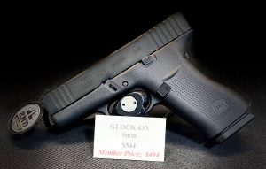 G43X 9mm features a compact Slimline frame with a black slide.